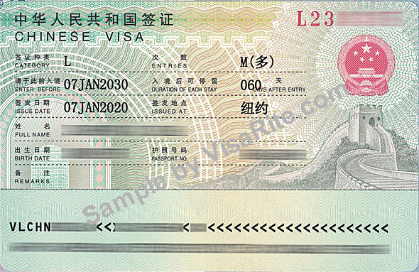 Sample Of China Visa Page